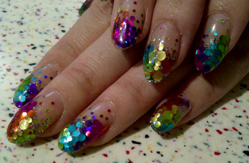 Fashion able nail art on the fourth floor this rainbow hued glitter manicure by naomi yasuda would be perfect as birthday party nails its an aggressive and complicated design prinsesfo Choice Image